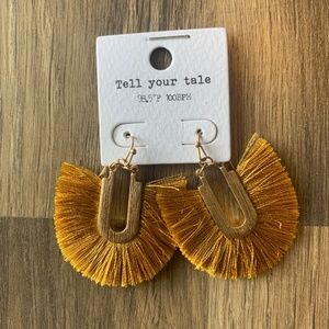 NWT Mustard Fringe Earrings